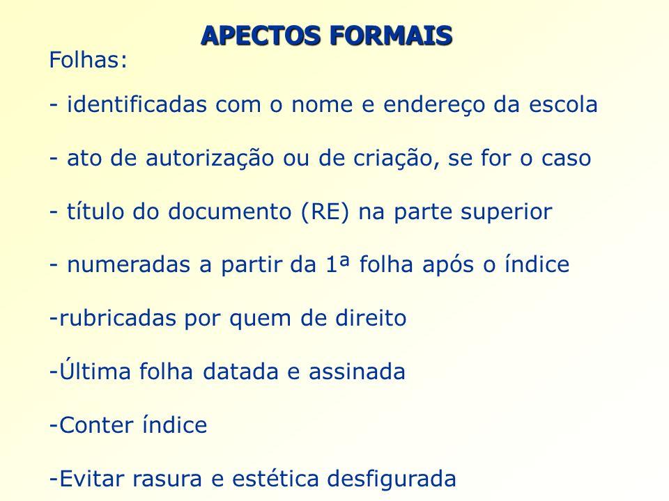 APECTOS FORMAIS Folhas: - identificadas com o nome e endereço da escola - ato de autorização ou de criação, se for o caso - título do documento (RE) n