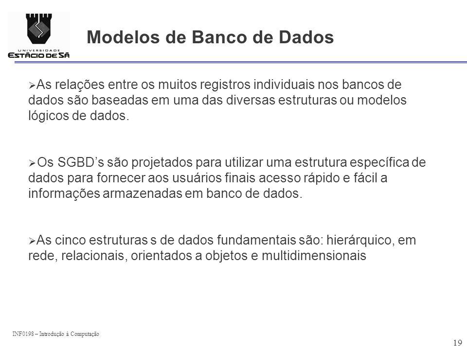 INF0198 – Introdução à Computação 19 Modelos de Banco de Dados As relações entre os muitos registros individuais nos bancos de dados são baseadas em u