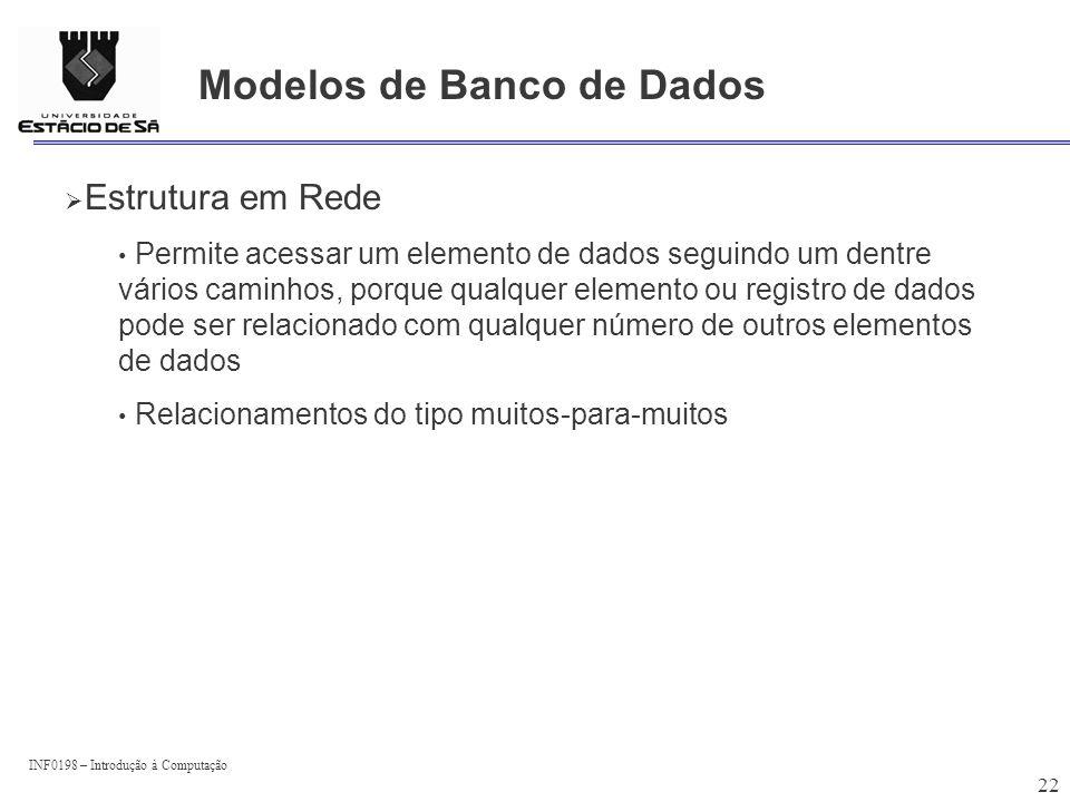 INF0198 – Introdução à Computação 22 Modelos de Banco de Dados Estrutura em Rede Permite acessar um elemento de dados seguindo um dentre vários caminh