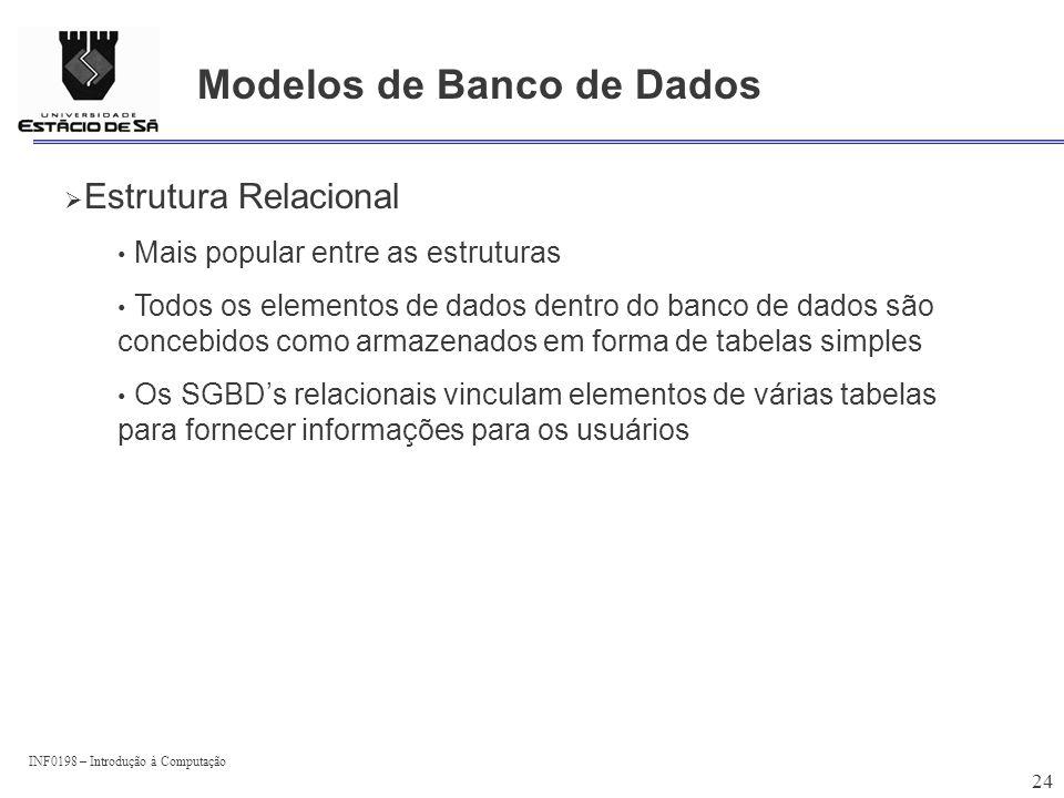 INF0198 – Introdução à Computação 24 Modelos de Banco de Dados Estrutura Relacional Mais popular entre as estruturas Todos os elementos de dados dentr