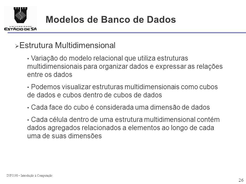 INF0198 – Introdução à Computação 26 Modelos de Banco de Dados Estrutura Multidimensional Variação do modelo relacional que utiliza estruturas multidi