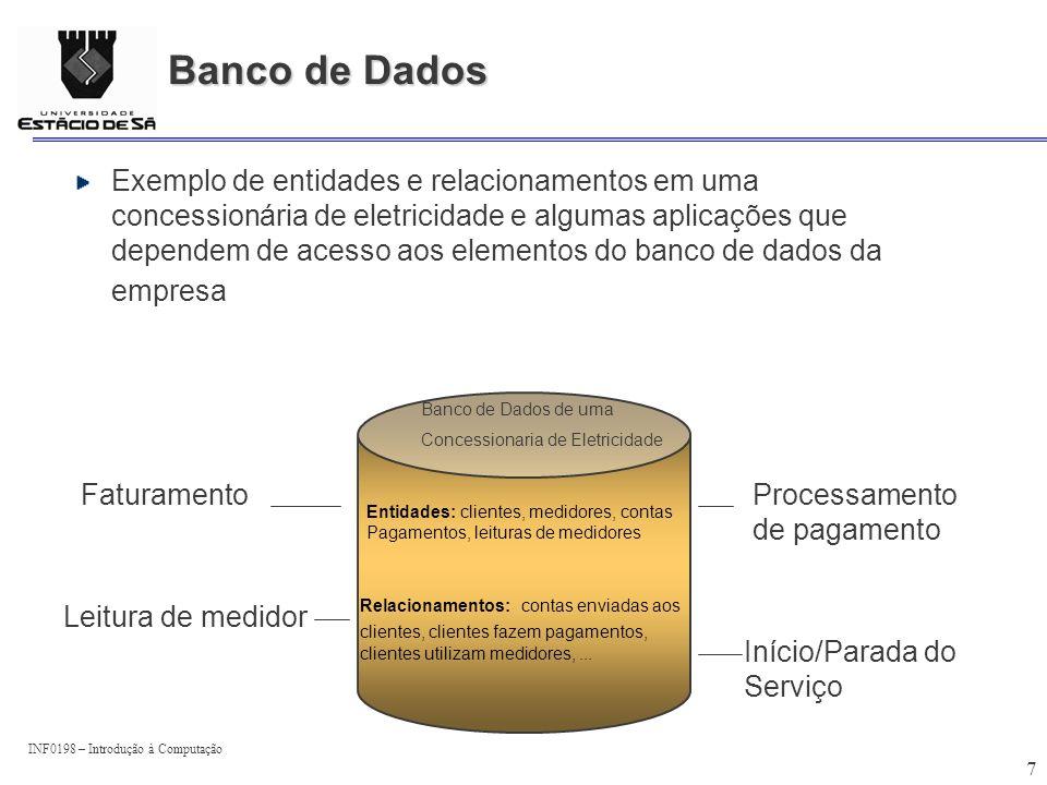 INF0198 – Introdução à Computação 18 Modelos de Banco de Dados Na construção de um banco de dados deve-se considerar as seguintes questões: Conteúdo: Que dados devem ser coletados e a que custo .