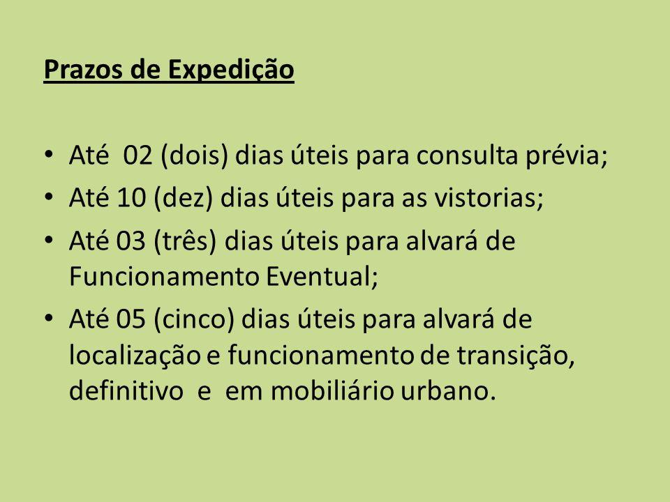 Prazos de Expedição Até 02 (dois) dias úteis para consulta prévia; Até 10 (dez) dias úteis para as vistorias; Até 03 (três) dias úteis para alvará de