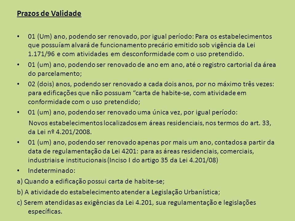 Prazos de Validade 01 (Um) ano, podendo ser renovado, por igual período: Para os estabelecimentos que possuíam alvará de funcionamento precário emitid