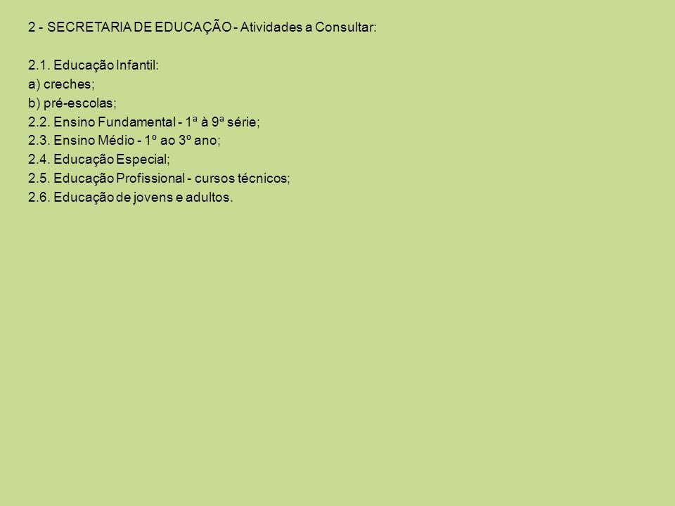 2 - SECRETARIA DE EDUCAÇÃO - Atividades a Consultar: 2.1. Educação Infantil: a) creches; b) pré-escolas; 2.2. Ensino Fundamental - 1ª à 9ª série; 2.3.