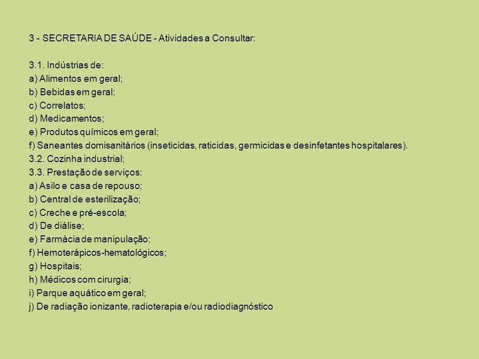 3 - SECRETARIA DE SAÚDE - Atividades a Consultar: 3.1. Indústrias de: a) Alimentos em geral; b) Bebidas em geral; c) Correlatos; d) Medicamentos; e) P