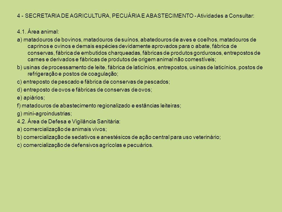4 - SECRETARIA DE AGRICULTURA, PECUÁRIA E ABASTECIMENTO - Atividades a Consultar: 4.1. Área animal: a) matadouros de bovinos, matadouros de suínos, ab