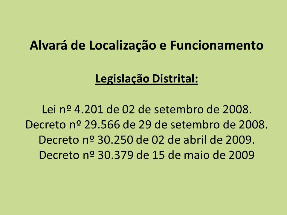 Alvará de Localização e Funcionamento Legislação Distrital: Lei nº 4.201 de 02 de setembro de 2008. Decreto nº 29.566 de 29 de setembro de 2008. Decre