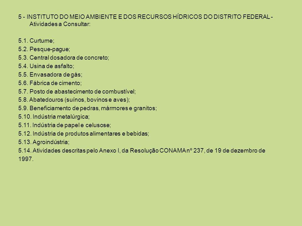 5 - INSTITUTO DO MEIO AMBIENTE E DOS RECURSOS HÍDRICOS DO DISTRITO FEDERAL - Atividades a Consultar: 5.1. Curtume; 5.2. Pesque-pague; 5.3. Central dos
