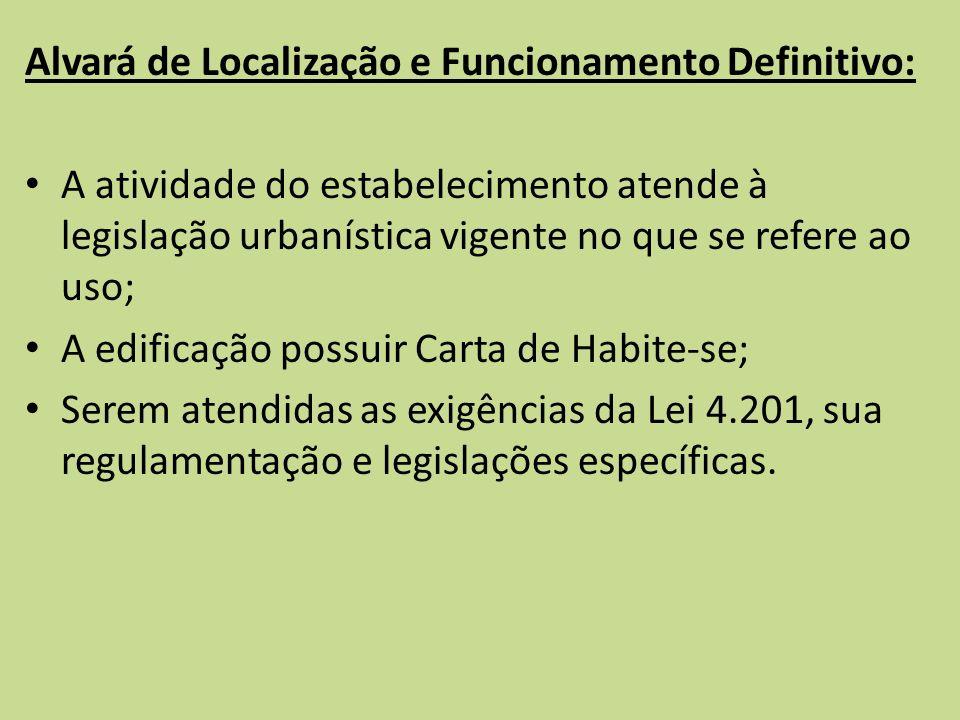 Alvará de Localização e Funcionamento Definitivo: A atividade do estabelecimento atende à legislação urbanística vigente no que se refere ao uso; A ed