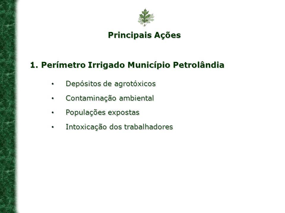 1. Perímetro Irrigado Município Petrolândia Depósitos de agrotóxicos Depósitos de agrotóxicos Contaminação ambiental Contaminação ambiental Populações