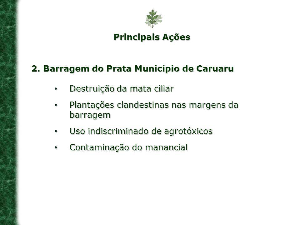 2. Barragem do Prata Município de Caruaru Destruição da mata ciliar Destruição da mata ciliar Plantações clandestinas nas margens da barragem Plantaçõ
