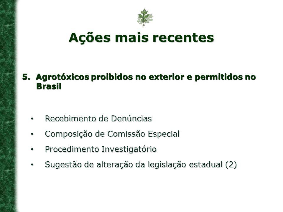 5. Agrotóxicos proibidos no exterior e permitidos no Brasil Recebimento de Denúncias Recebimento de Denúncias Composição de Comissão Especial Composiç