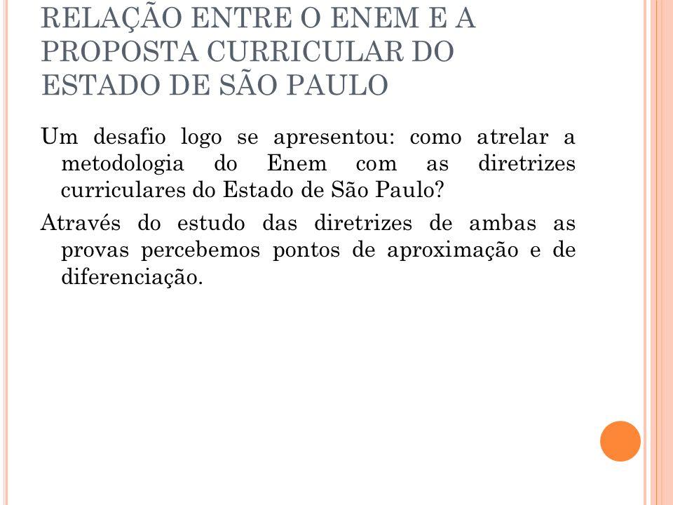 RELAÇÃO ENTRE O ENEM E A PROPOSTA CURRICULAR DO ESTADO DE SÃO PAULO Um desafio logo se apresentou: como atrelar a metodologia do Enem com as diretrize