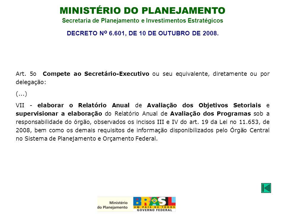 MINISTÉRIO DO PLANEJAMENTO Secretaria de Planejamento e Investimentos Estratégicos Art. 5o Compete ao Secretário-Executivo ou seu equivalente, diretam