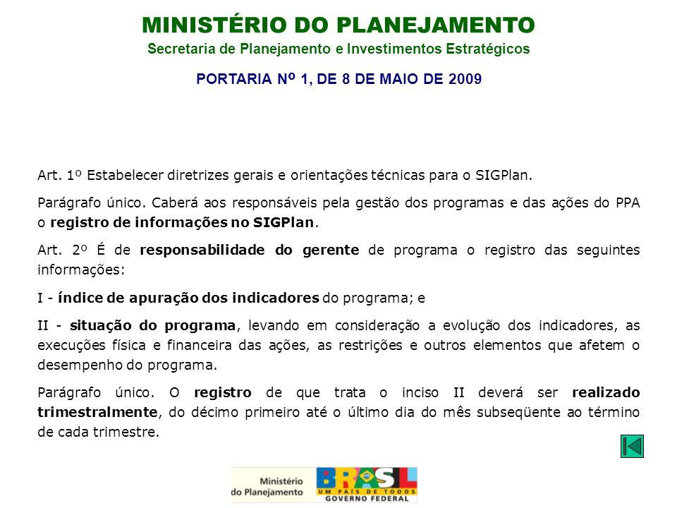 MINISTÉRIO DO PLANEJAMENTO Secretaria de Planejamento e Investimentos Estratégicos Art. 1º Estabelecer diretrizes gerais e orientações técnicas para o