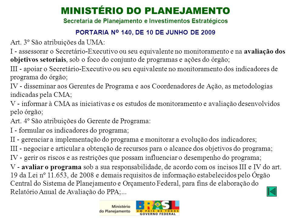 MINISTÉRIO DO PLANEJAMENTO Secretaria de Planejamento e Investimentos Estratégicos PORTARIA N º 140, DE 10 DE JUNHO DE 2009 Art. 3º São atribuições da