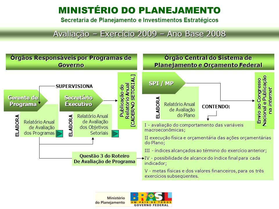 MINISTÉRIO DO PLANEJAMENTO Secretaria de Planejamento e Investimentos Estratégicos Avaliação – Exercício 2009 – Ano Base 2008 I - avaliação do comport