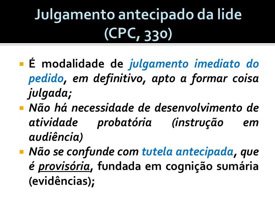 Art.330. O juiz conhecerá diretamente do pedido, proferindo sentença: I.