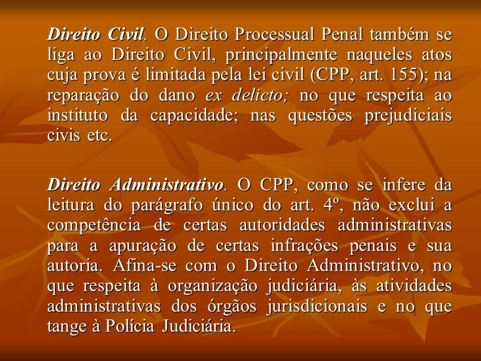 Direito Civil. O Direito Processual Penal também se liga ao Direito Civil, principalmente naqueles atos cuja prova é limitada pela lei civil (CPP, art