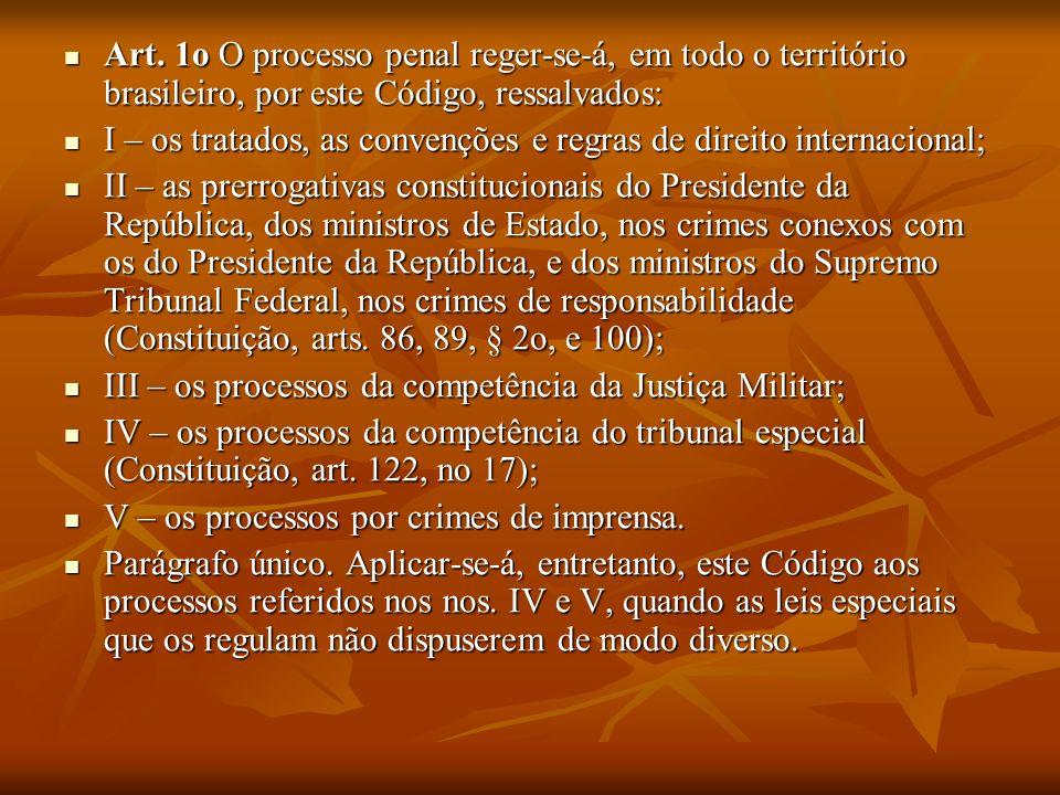 Art. 1o O processo penal reger-se-á, em todo o território brasileiro, por este Código, ressalvados: Art. 1o O processo penal reger-se-á, em todo o ter