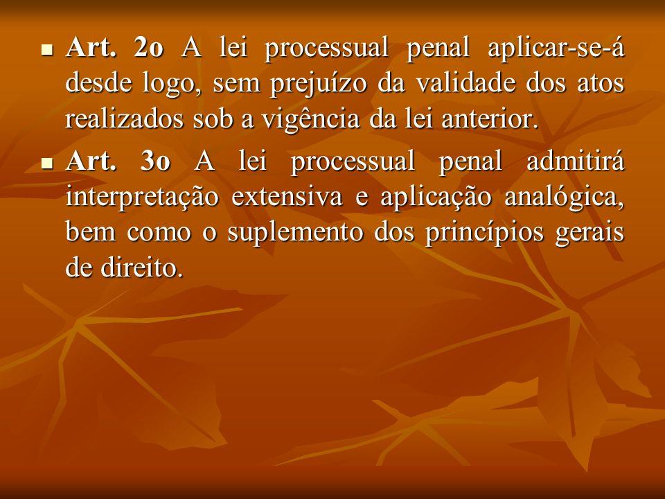 Art. 2o A lei processual penal aplicar-se-á desde logo, sem prejuízo da validade dos atos realizados sob a vigência da lei anterior. Art. 2o A lei pro