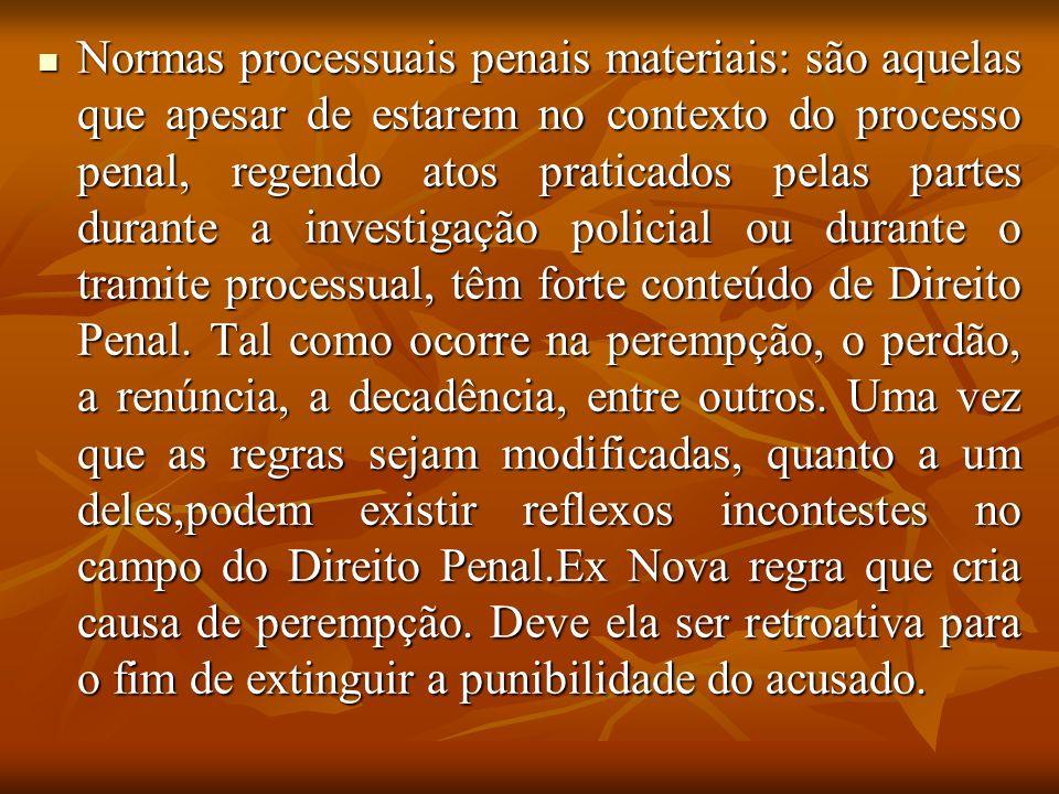 Normas processuais penais materiais: são aquelas que apesar de estarem no contexto do processo penal, regendo atos praticados pelas partes durante a i