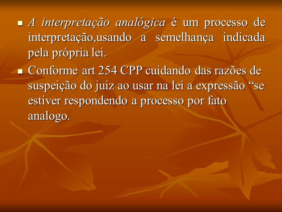 A interpretação analógica é um processo de interpretação,usando a semelhança indicada pela própria lei. A interpretação analógica é um processo de int