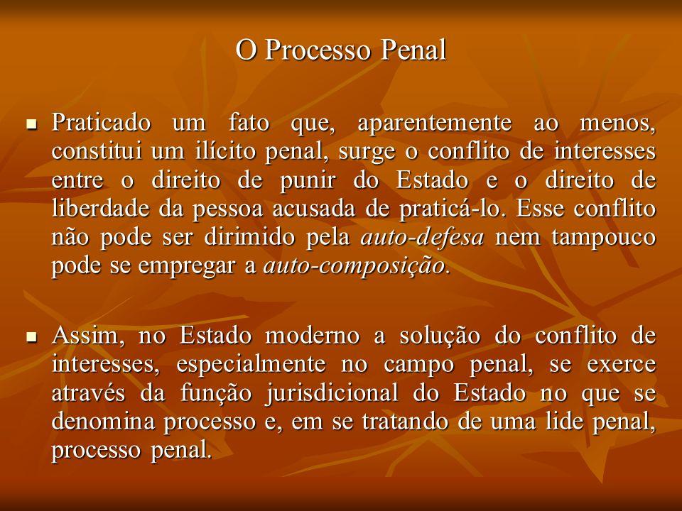 O Processo Penal Praticado um fato que, aparentemente ao menos, constitui um ilícito penal, surge o conflito de interesses entre o direito de punir do
