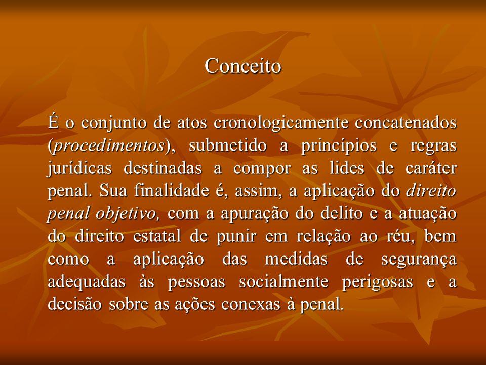 Conceito É o conjunto de atos cronologicamente concatenados (procedimentos), submetido a princípios e regras jurídicas destinadas a compor as lides de