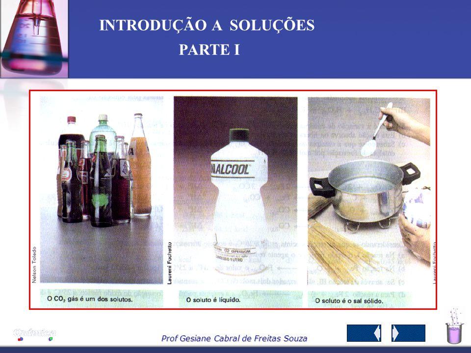 Prof Gesiane Cabral de Freitas Souza INTRODUÇÃO A SOLUÇÕES PARTE I 2-COMPONENTES DA SOLUÇÃO As soluções apresentam composição variável, são sistemas h