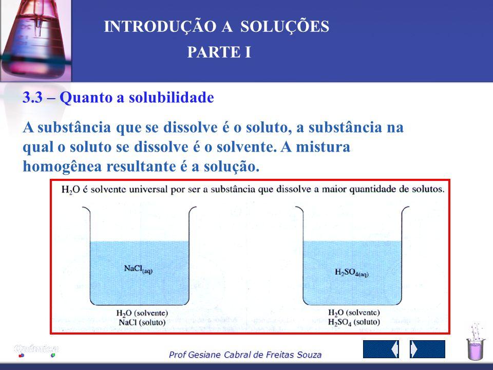 Prof Gesiane Cabral de Freitas Souza INTRODUÇÃO A SOLUÇÕES PARTE I São aquelas em que o soluto é um composto iônico. Exemplo: água + sal de cozinha. S
