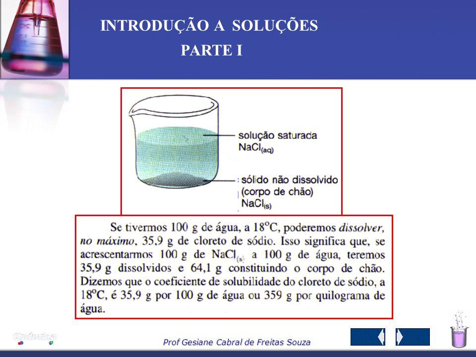 Prof Gesiane Cabral de Freitas Souza INTRODUÇÃO A SOLUÇÕES PARTE I 3.3 – Quanto a solubilidade A substância que se dissolve é o soluto, a substância n