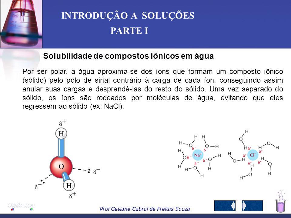 Prof Gesiane Cabral de Freitas Souza INTRODUÇÃO A SOLUÇÕES PARTE I SOLUÇÃO SUPERSATURADA 1L de água a 0°C 1L de água a 25°C 1L de água a 0°C 400 g de