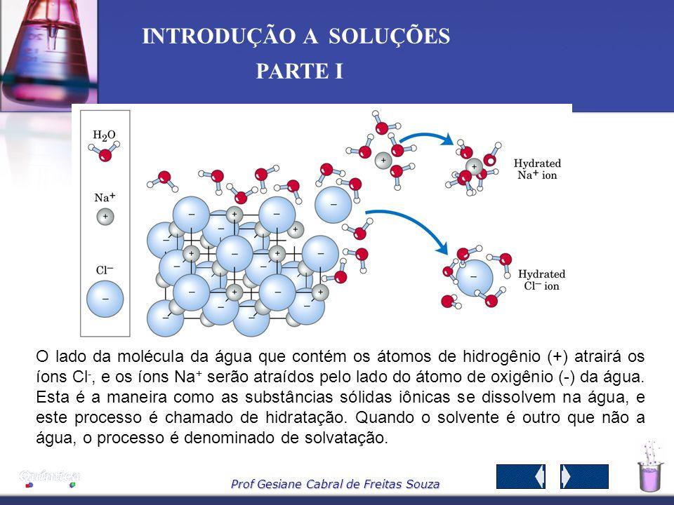Prof Gesiane Cabral de Freitas Souza INTRODUÇÃO A SOLUÇÕES PARTE I Por ser polar, a água aproxima-se dos íons que formam um composto iônico (sólido) p