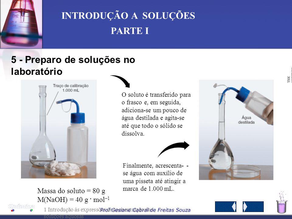 Prof Gesiane Cabral de Freitas Souza INTRODUÇÃO A SOLUÇÕES PARTE I O lado da molécula da água que contém os átomos de hidrogênio (+) atrairá os íons C