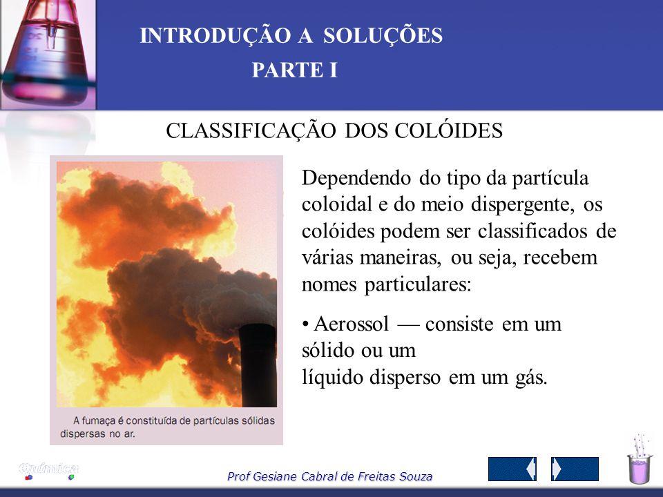 Prof Gesiane Cabral de Freitas Souza INTRODUÇÃO A SOLUÇÕES PARTE I A adição de solutos a solventes pode originar três tipos de sistemas soluções, susp