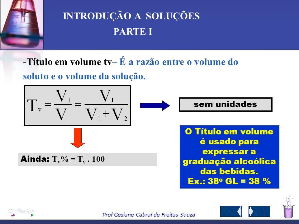 Prof Gesiane Cabral de Freitas Souza INTRODUÇÃO A SOLUÇÕES PARTE I Exemplo Foram dissolvidas 80 gramas de NaCl em 320 gramas de água. Qual o título da