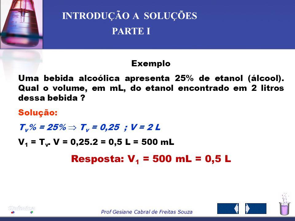 Prof Gesiane Cabral de Freitas Souza INTRODUÇÃO A SOLUÇÕES PARTE I -Título em volume tv– É a razão entre o volume do soluto e o volume da solução. sem
