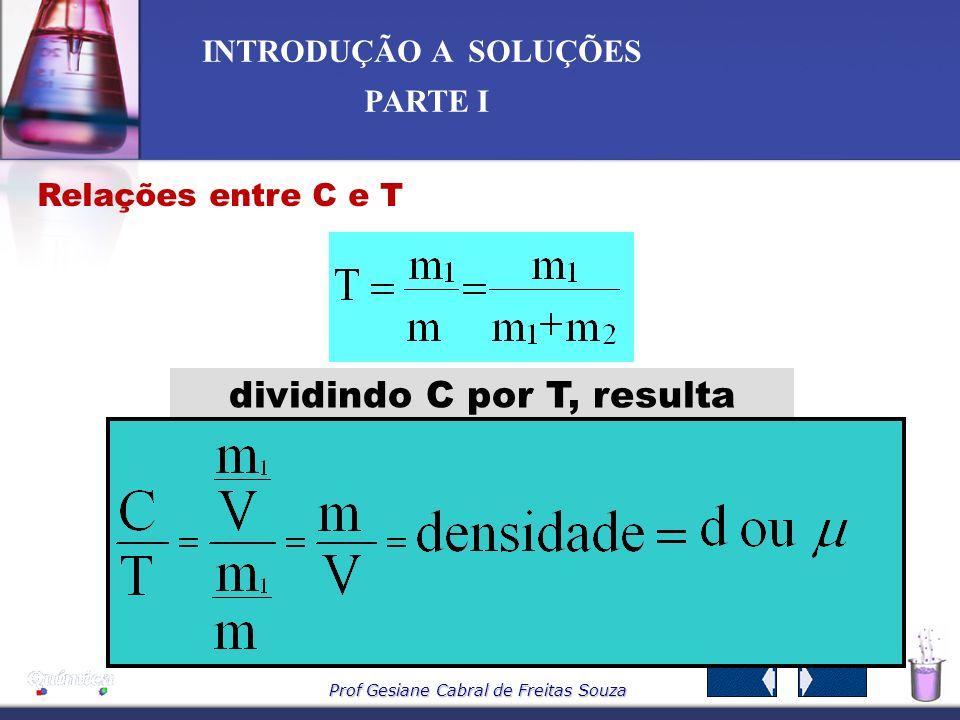 Prof Gesiane Cabral de Freitas Souza INTRODUÇÃO A SOLUÇÕES PARTE I Ampliando: Densímetro Densímetros 1,06 g/cm 3 1,03 g/cm 3 Urina com densidade fora