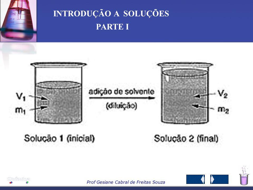 Prof Gesiane Cabral de Freitas Souza INTRODUÇÃO A SOLUÇÕES PARTE I 7 – Diluição de soluções Uma solução pode ser preparada adicionando – se solvente a