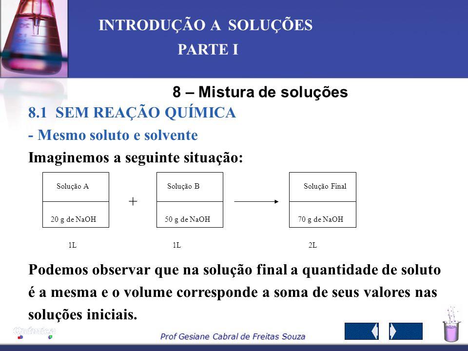 Prof Gesiane Cabral de Freitas Souza INTRODUÇÃO A SOLUÇÕES PARTE I Como: Quantidade inicial do soluto = Quantidade final do soluto, Podemos apresentar