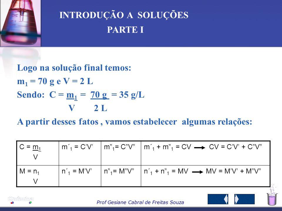 Prof Gesiane Cabral de Freitas Souza INTRODUÇÃO A SOLUÇÕES PARTE I 8 – Mistura de soluções 8.1 SEM REAÇÃO QUÍMICA - Mesmo soluto e solvente Imaginemos