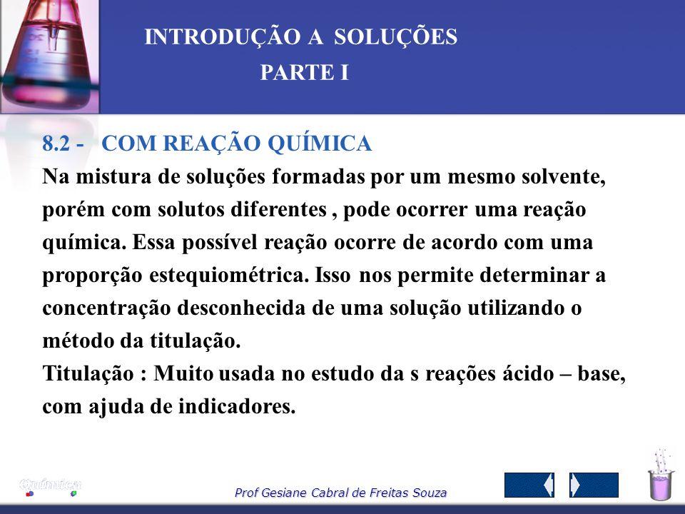 Prof Gesiane Cabral de Freitas Souza INTRODUÇÃO A SOLUÇÕES PARTE I - Mesmo solvente com solutos diferentes Imaginemos a seguinte situação: 0,1 mol de