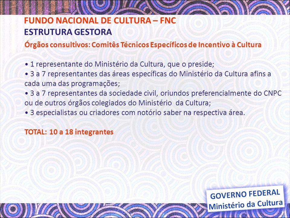 Órgãos consultivos: Comitês Técnicos Específicos de Incentivo à Cultura Os Comitês Técnicos serão presididos por membro eleito entre os representantes do Ministério da Cultura, o qual terá voto somente de desempate.