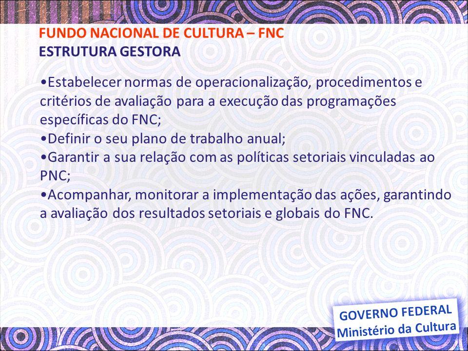 ÓRGÃO COLEGIADO: Comissão Nacional do Fundo Nacional da Cultura - CFNC; ÓRGÃO EXECUTIVO: Secretaria de Fomento e Incentivo à Cultura - SEFIC; ÓRGÃOS CONSULTIVOS: Comitês Técnicos Específicos de Incentivo à Cultura; ÓRGÃOS DE MONITORAMENTO: Secretaria de Políticas Culturais - SPC.
