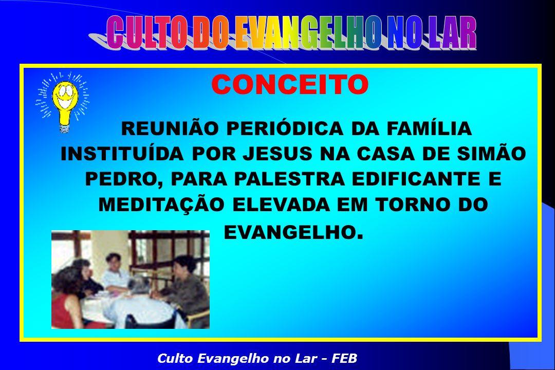 CONCEITO REUNIÃO PERIÓDICA DA FAMÍLIA INSTITUÍDA POR JESUS NA CASA DE SIMÃO PEDRO, PARA PALESTRA EDIFICANTE E MEDITAÇÃO ELEVADA EM TORNO DO EVANGELHO.