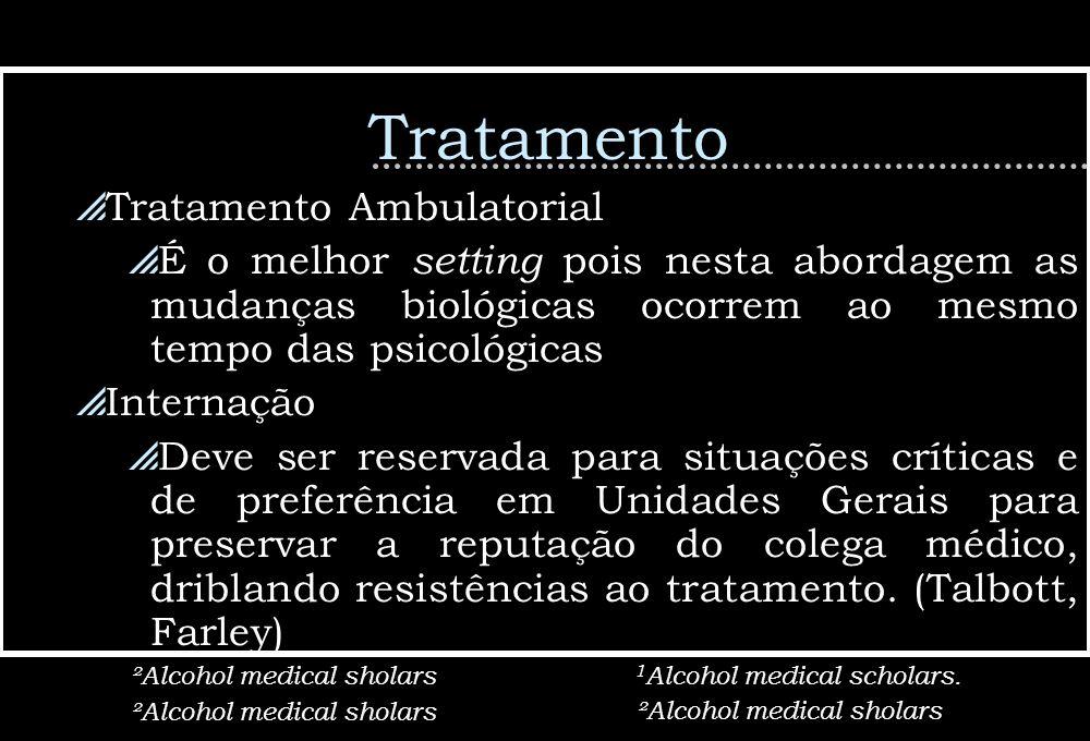 Tratamento Tratamento Ambulatorial É o melhor setting pois nesta abordagem as mudanças biológicas ocorrem ao mesmo tempo das psicológicas Internação D