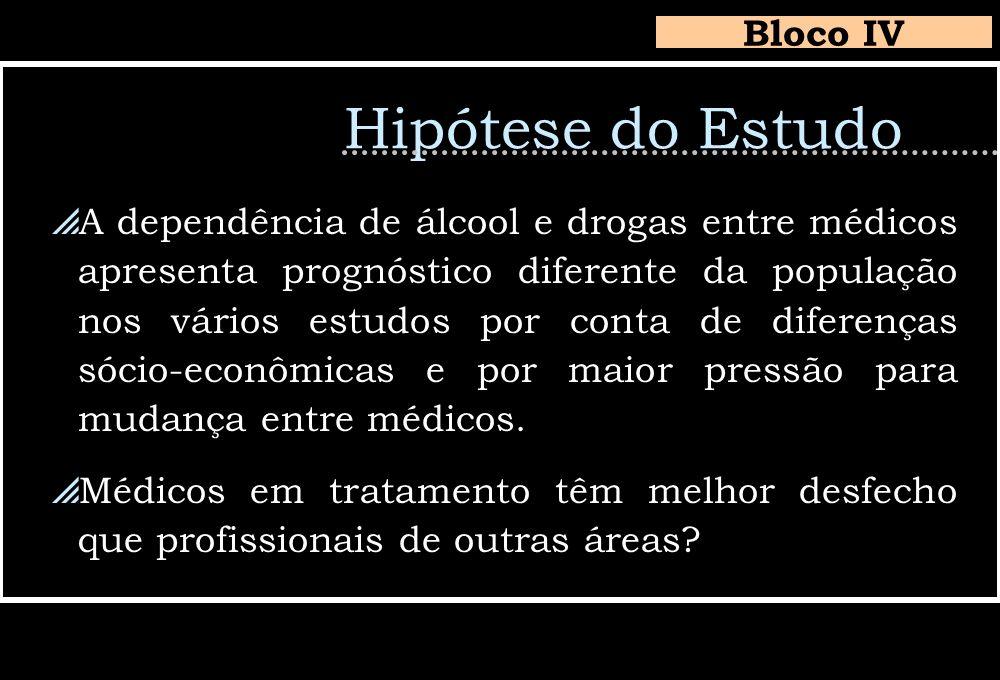 Hipótese do Estudo A dependência de álcool e drogas entre médicos apresenta prognóstico diferente da população nos vários estudos por conta de diferen