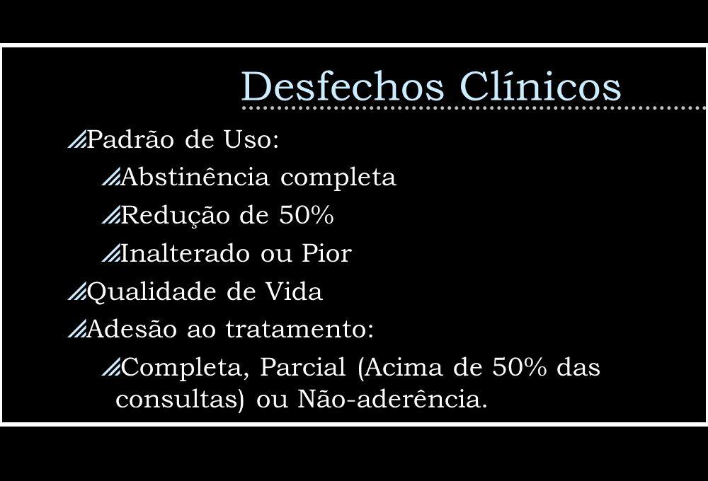 Desfechos Clínicos Padrão de Uso: Abstinência completa Redução de 50% Inalterado ou Pior Qualidade de Vida Adesão ao tratamento: Completa, Parcial (Ac